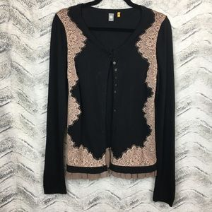 Anthro Knitted & Knotted Lace Framed Cardigan